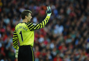 LONDON, ENGLAND - MAY 28:  Edwin van der Sar of Manchester United in action during the UEFA Champions League final between FC Barcelona and Manchester United FC at Wembley Stadium on May 28, 2011 in London, England. Edwin van der Sar will retire after the