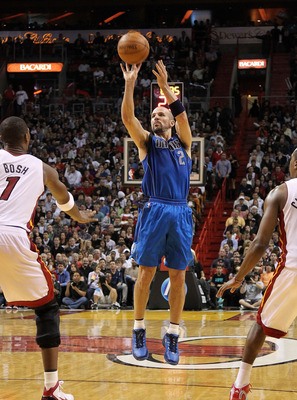 MIAMI, FL - DECEMBER 20:  Jason Kidd #2 of the Dallas Mavericks shoots the ball during a game against the Miami Heat at American Airlines Arena on December 20, 2010 in Miami, Florida. NOTE TO USER: User expressly acknowledges and agrees that, by downloadi