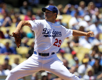 LOS ANGELES, CA - MAY 15:  Ted Lilly #29 of the Los Angeles Dodgers throw a pitch against the Arizona Diamondbacks on May 15, 2011 at Dodger Stadium in Los Angeles, California.  (Photo by Stephen Dunn/Getty Images)