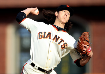 SAN FRANCISCO, CA - MAY 21:  Tim Lincecum #55 of the San Francisco Giants pitches against the Oakland Athletics during an MLB game at AT&T Park on May 21, 2011 in San Francisco, California.  (Photo by Jed Jacobsohn/Getty Images)
