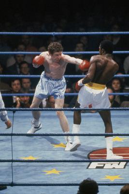 Terry Marsh (left) attacks Joe Manley