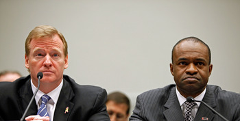 WASHINGTON - OCTOBER 28:  National Football League Commissioner Roger Goodell (L) and NFL Players Association Executive Director DeMaurice Smith testify before the House Judiciary Committee about football brain injuries on Captiol Hill October 28, 2009 in
