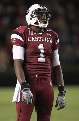 COLUMBIA, SC - NOVEMBER 06:  Alshon Jeffery #1 of the South Carolina Gamecocks reacts during their game against the Arkansas Razorbacks at Williams-Brice Stadium on November 6, 2010 in Columbia, South Carolina.  (Photo by Streeter Lecka/Getty Images)