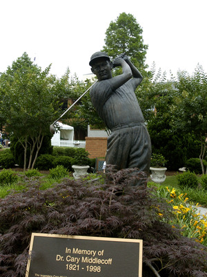 A statute of Dr. Cary Middlecoff stands near the clubhouse  during  third-round play at the FedEx St. Jude Classic May 29, 2004 at the Tournament Players Club Southwind, Memphis, Tennessee. Scenic Golf (Photo by A. Messerschmidt/Getty Images) *** Local Ca