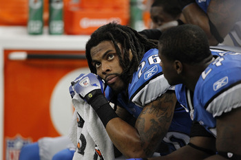 DETROIT - NOVEMBER 07:  Louis Delmas #26 of the Detroit Lions looks on during the Lions overtime loss to the New York Jets at Ford Field on November 7, 2010 in Detroit, Michigan. The Jets defeated the Lions 23-20 in overtime.  (Photo by Leon Halip/Getty I