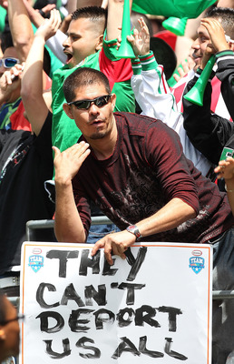 SEATTLE - MAY 28:  A fan holds a sign during the match between Mexico and Ecuador at Qwest Field on May 28, 2011 in Seattle, Washington. Mexico and Ecuador played to a 1-1 tie. (Photo by Otto Greule Jr/Getty Images)