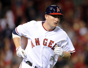 ANAHEIM, CA - MAY 20:  Mark Trumbo #44 of the Los Angeles Angels of Anaheim heads to first after his three run homerun for a 6-0 lead over the Atlanta Braves during the third inning at Angel Stadium on May 20, 2011 in Anaheim, California.  (Photo by Harry
