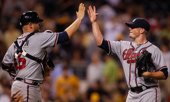 PITTSBURGH - MAY 24:  Craig Kimbrel #46 and teammate Brian McCann #16 of the Atlanta Braves celebrate after their win against the Pittsburgh Pirates during the game on May 24, 2011 at PNC Park in Pittsburgh, Pennsylvania.  (Photo by Jared Wickerham/Getty