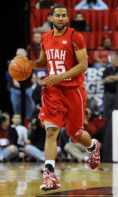 LAS VEGAS - JANUARY 16:  Carlon Brown #15 of the Utah Utes brings the ball up the court against the UNLV Rebels during their game at the Thomas & Mack Center January 16, 2010 in Las Vegas, Nevada. The Utes defeated the Rebels 73-69.  (Photo by Ethan Mille