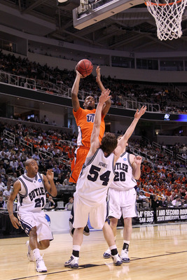 SAN JOSE, CA - MARCH 18:  Forward Arnett Moultrie #1 of the UTEP Miners takes a shot over forward Matt Howard #54 of the Butler Bulldogs during the first round of the 2010 NCAA men's basketball tournament at HP Pavilion on March 18, 2010 in San Jose, Cali