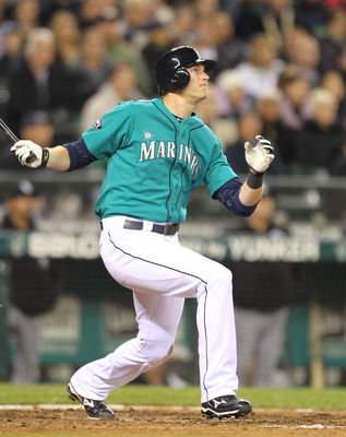 SEATTLE - MAY 06:  Michael Saunders #55 of the Seattle Mariners bats against the Chicago White Sox at Safeco Field on May 6, 2011 in Seattle, Washington. The Mariners won 3-2. (Photo by Otto Greule Jr/Getty Images)