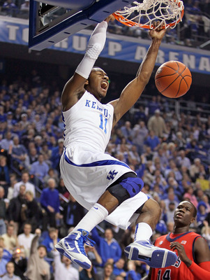 LEXINGTON, KY - FEBRUARY 02:  John Wall #11 of the Kentucky Wildcats dunks the ball during the SEC game against the Ole Miss Rebels on February 2, 2010 at Rupp Arena in Lexington, Kentucky. Kentucky won 85-75.  (Photo by Andy Lyons/Getty Images)