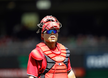 WASHINGTON, DC - MAY 15:  Catcher Ivan Rodriguez #7 of the Washington Nationals in action against the Florida Marlins at Nationals Park on May 15, 2011 in Washington, DC.  (Photo by Rob Carr/Getty Images)