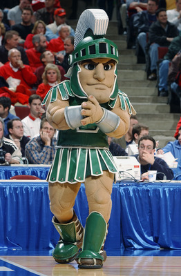 CHICAGO - MARCH 13:  The mascot for Michigan State University entertains fans during the Big Ten Men's Basketball Tournament game between the Michigan State University Spartans and the Purdue University Boilermakers at the United Center on March 14, 2003