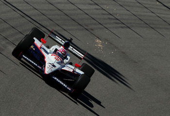 HOMESTEAD, FL - OCTOBER 01: Dan Wheldon of Great Britain, drives the #4 National Guard Panther Racing Dallara Honda during practice for the IZOD IndyCar Series NextEra Energy Indy Championships at Homestead-Miami Speedway on October 1, 2010 in Homestead,