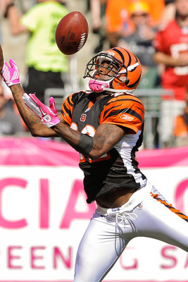 CINCINNATI, OH - OCTOBER 10: Johnathan Joseph #22 of the Cincinnati Bengals breaks up a pass intended for the Tampa Bay Buccaneers at Paul Brown Stadium on October 10, 2010 in Cincinnati, Ohio. (Photo by Jamie Sabau/Getty Images)