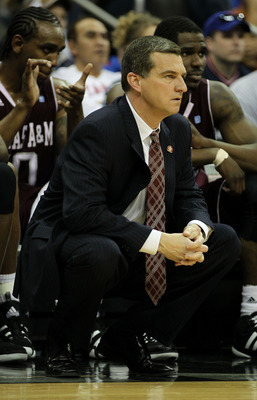 KANSAS CITY, MO - MARCH 11:  Head coach Mark Turgeon of the Texas A&M Aggies looks on during their semifinal game against the Texas Longhorns in the 2011 Phillips 66 Big 12 Men's Basketball Tournament at Sprint Center on March 11, 2011 in Kansas City, Mis