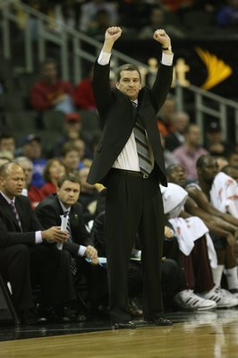 KANSAS CITY, MO - MARCH 13:  Head coach Mark Turgeon of the Texas A&M Aggies raises his arms during the game against the Iowa State Cyclones during day 1 of the Big 12 Men's Basketball Tournament on March 13, 2008 at the Sprint Center in Kansas City, Miss
