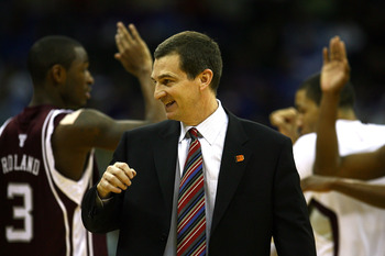 KANSAS CITY, MO - MARCH 14:  Head coach Mark Turgeon of the Texas A&M Aggies celebrates a win over the Kansas State Wildcats on day 2 of the Big 12 Men's Basketball Tournament on March 14, 2008 at the Sprint Center in Kansas City, Missouri.  (Photo by Jam