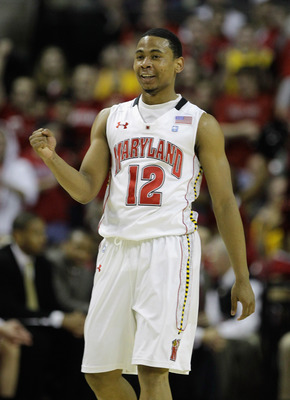 COLLEGE PARK, MD - FEBRUARY 20: Terrell Stoglin #20 of the  Maryland Terrapians celebrates after scoring against the NC State Wolfpack at the Comcast Center on February 20, 2011 in College Park, Maryland.  (Photo by Rob Carr/Getty Images)