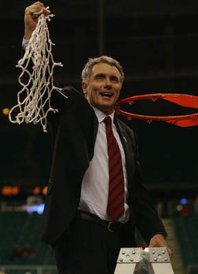 ATLANTA, GA - APRIL 1:  Head coach Gary Williams of the University of Maryland Terrapins celebrates after cutting down the net following the men's NCAA National Championship game against the Indiana University Hoosiers at the Georgia Dome in Atlanta, Geor