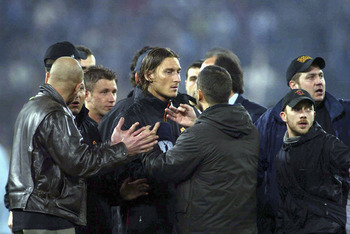 ROME, ITALY - MARCH 21:  AS Roma captain Francesco Totti after the Serie A match between Roma and Lazio at the Stadio Olimpico on March 21, 2004 in Rome, Italy. The Game was abandoned after half-time after crowd trouble, with the score at 0-0. (Photo by N