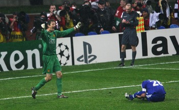 MOSCOW - MAY 21:  Edwin Van der Sar of Manchester United celebrates after John Terry of Chelsea misses a penalty during the UEFA Champions League Final match between Manchester United and Chelsea at the Luzhniki Stadium on May 21, 2008 in Moscow, Russia.