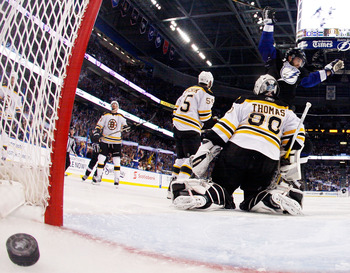 TAMPA, FL - MAY 25:  Teddy Purcell #16 of the Tampa Bay Lightning scores a first period goal past Tim Thomas #30 of the Boston Bruins in Game Six of the Eastern Conference Finals during the 2011 NHL Stanley Cup Playoffs at St Pete Times Forum on May 25, 2