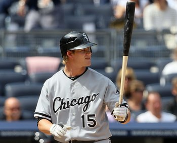 NEW YORK - MAY 02:  Gordon Beckham #15 of the Chicago White Sox bats against the New York Yankees on May 2, 2010 at Yankee Stadium in the Bronx borough of New York City. The Yankees defeated the White Sox 12-3.  (Photo by Jim McIsaac/Getty Images)
