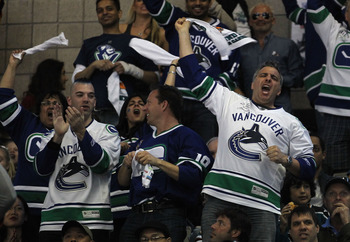 SAN JOSE, CA - MAY 22:  Vancouver Canucks fans show their support during Game Four of the Western Conference Finals between the Vancouver Canucks and the San Jose Sharks during the 2011 Stanley Cup Playoffs at HP Pavilion on May 22, 2011 in San Jose, Cali