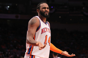 NEW YORK, NY - APRIL 24:  Ronny Turiaf #14 of the New York Knicks reacts against the Boston Celtics in Game Four of the Eastern Conference Quarterfinals during the 2011 NBA Playoffs on April 24, 2011 at Madison Square Garden in New York City. NOTE TO USER