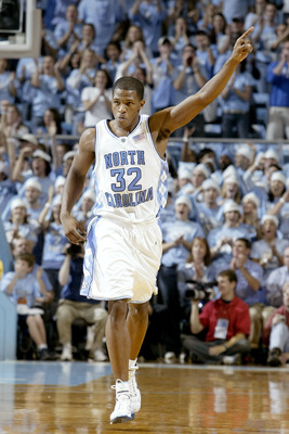 CHAPEL HILL, NC - DECEMBER 4:  Rashad McCants #32 of the North Carolina Tar Heels celebrates during their game against the Kentucky Wildcats on December 4, 2004 at the Dean E. Smith Center in Chapel Hill, North Carolina.  (Photo by Craig Jones/Getty Image