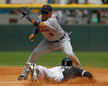 CHICAGO - JUNE 10: Carlos Guillen #9 of the Detriot Tigers prepares to tag out Alexei Ramirez #10 of the Chicago White Sox at U.S. Cellular Field on June 10, 2010 in Chicago, Illinois. The White Sox defeated the Tigers 3-0. (Photo by Jonathan Daniel/Getty