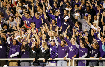 FORT WORTH, TX - OCTOBER 23:  TCU fans celebrate as TCU beats the Air Force Falcons 38-7 at Amon G. Carter Stadium on October 23, 2010 in Fort Worth, Texas.  (Photo by Tom Pennington/Getty Images)