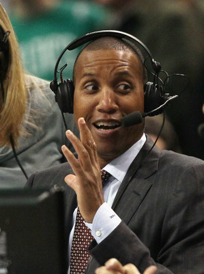 BOSTON, MA - FEBRUARY 10:  Former Indiana Pacer and former NBA 3-point all time record holder, Reggie Miller reacts after Ray Allen #20 of the Boston Celtics tied his record in the first quarter against the Los Angeles Lakers on February 10, 2011 at the T