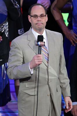 LOS ANGELES, CA - FEBRUARY 20:  TNT's Ernie Johnson speaks after the 2011 NBA All-Star Game at Staples Center on February 20, 2011 in Los Angeles, California. NOTE TO USER: User expressly acknowledges and agrees that, by downloading and or using this phot