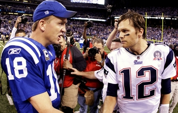 INDIANAPOLIS - NOVEMBER 15:  Quarterback Peyton Manning #18 of the Indianapolis Colts greets Tom Brady #12 of the New England Patriots after the game at Lucas Oil Stadium on November 15, 2009 in Indianapolis, Indiana.  The Colts won the game 35-34.  (Phot