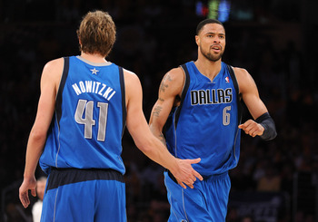 LOS ANGELES, CA - MAY 02:  Tyson Chandler #6 and Dirk Nowitzki #41 of the Dallas Mavericks react in the fourth quarter while taking on the Los Angeles Lakers in Game One of the Western Conference Semifinals in the 2011 NBA Playoffs at Staples Center on Ma
