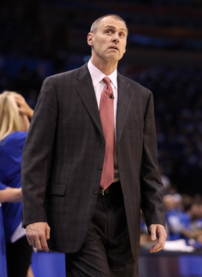 OKLAHOMA CITY, OK - MAY 21:  Head coach Rick Carlisle of the Dallas Mavericks reacts in the second half while taking on the Oklahoma City Thunder in Game Three of the Western Conference Finals during the 2011 NBA Playoffs at Oklahoma City Arena on May 21,
