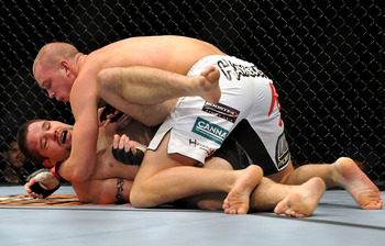 LOS ANGELES, CA - OCTOBER 24:  UFC fighter Chase Gormley (bottom) battles with UFC fighter Stefan Struve (top) during their Heavyweight bout at UFC 104: Machida vs. Shogun at Staples Center on October 24, 2009 in Los Angeles, California.  (Photo by Jon Ko