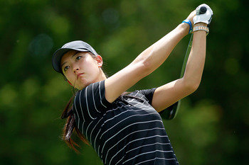 GLADSTONE, NJ - MAY 21:  Michelle Wie hits her tee shot on the 17th hole in round three of the Sybase Match Play Championship at Hamilton Farm Golf Club on May 21, 2011 in Gladstone, New Jersey.  (Photo by Chris Trotman/Getty Images)