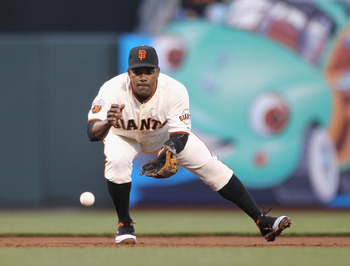 SAN FRANCISCO, CA - MAY 11:  Miguel Tejada #10 of the San Francisco Giants in action against the Arizona Diamondbacks at AT&T Park on May 11, 2011 in San Francisco, California.  (Photo by Ezra Shaw/Getty Images)