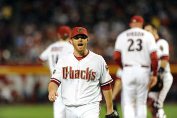 PHOENIX - MAY 20:  Ian Kennedy #31 of the Arizona Diamondbacks lets out a yell as he is taken out of the game against the Minnesota Twins at Chase Field on May 20, 2011 in Phoenix, Arizona.  (Photo by Norm Hall/Getty Images)