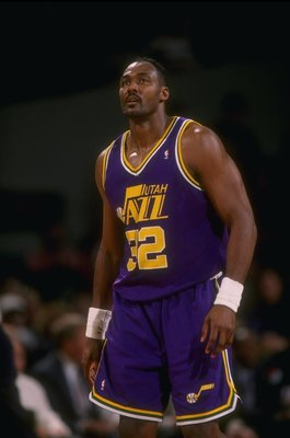 24 Feb 1995: Forward Karl Malone of the Utah Jazz looks on during a game against the Portland Trail Blazers at the Rose Garden in Portland, Oregon. The Blazers won the game, 114-101.