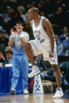 5 Dec 1997:  Guard Vince Carter of the North Carolina Tar Heels celebrates during a game against the Tennessee at Chattanooga Moccasins during the Harus Teeter Pepsi Challenge at the Charlotte Coliseum in Charlotte, North Carolina.  North Carolina won the