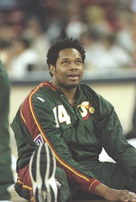 17 Apr 1997:  Center Sam Perkins of the Seattle Supersonics sits on the floor before a game against the Denver Nuggets at the McNichols Arena in Denver, Colorado.  The Sonics won the game 108-104. Mandatory Credit: Brian Bahr  /Allsport