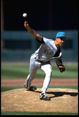 22 AUG 1993:  FLORIDA MARLINS PITCHER LUIS AQUINO RELEASES A PITCH DURING THE MARLINS VERSUS SAN FRANCISCO GIANTS GAME AT CANDLESTICK PARK IN SAN FRANCISCO, CALIFORNIA.