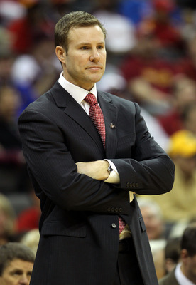 KANSAS CITY, MO - MARCH 09:  Head coach Fred Hoiberg of the Iowa State Cyclones looks on against the Colorado Buffaloes during the first round game in the 2011 Phillips 66 Big 12 Men's Basketball Tournament at Sprint Center on March 9, 2011 in Kansas City