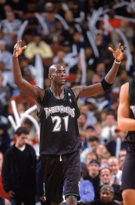 11 Dec 2000:  Kevin Garnett #21 of the Minnesota Timberwolves reacts on the court during the game against the Philadelphia 76ers at the First Union Center in Philadelphia, Pennsylvania. The Timberwolves defeated the 76ers 96-91. NOTE TO USER: It is expres
