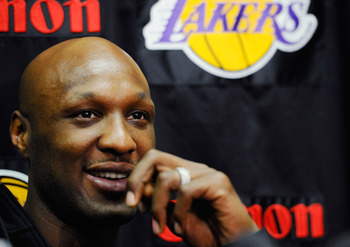 EL SEGUNDO, CA - MAY 11:  Lamar Odom #7 of the Los Angeles Lakers speaks during a news conference at the Lakers training facility on May 11, 2011 in El Segundo, California. The Lakers were swept out of their best of seven series with the Dallas Mavericks